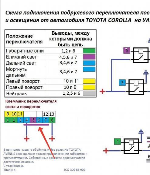 поворотов тойота переключателя схема