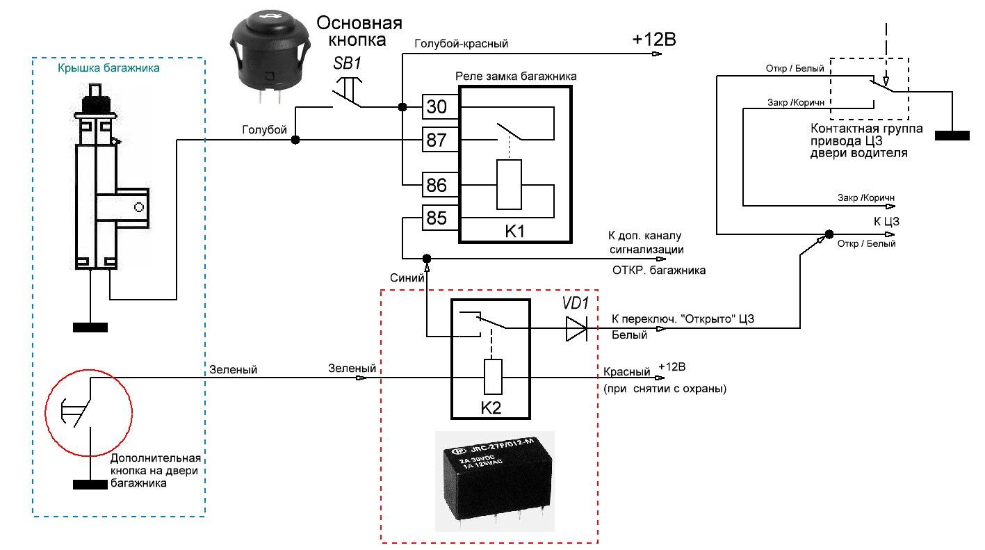 Схема подключения центрального замка к сигнализации через реле