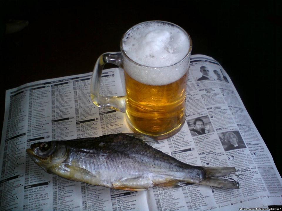 Открытка пиво с рыбой, оловянной свадьбой