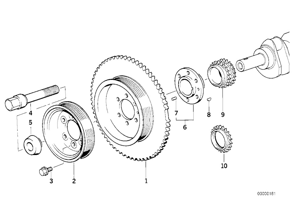 Reference for the correct fitting position of the drive belt on m43tu or m43b19 e46 bmw engines