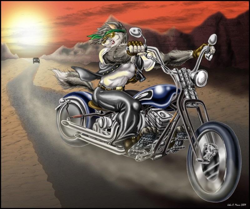 Месяцами малыша, открытка волк на мотоцикле